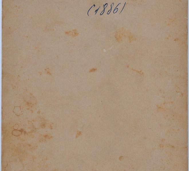 Verso-ul fotografiei cu Olga și Isidor Chirița ca tineri căsătoriți, părinții Valeriei Pintea, 1886, atelier fotografic Kossak József, Timișoara