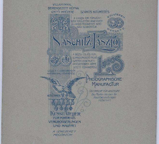Verso-ul fotografiei cu Olga și soțul Isidor, părinții Valeriei Pintea, 1891, atelier fotografic Naschitz László, Lugoj